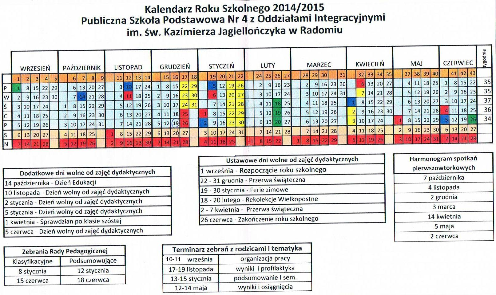 KALENDARZ NA ROK SZKOLNY 2012/2013